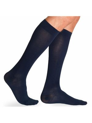 Mens Calf High Compression Socks  - 230 Cotton-30-40mmHg-Navy-MS - Clearance