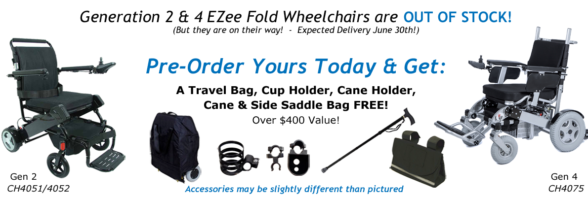 Pre-Order EZee Fold Power wheelchairs and get accessory bonus!