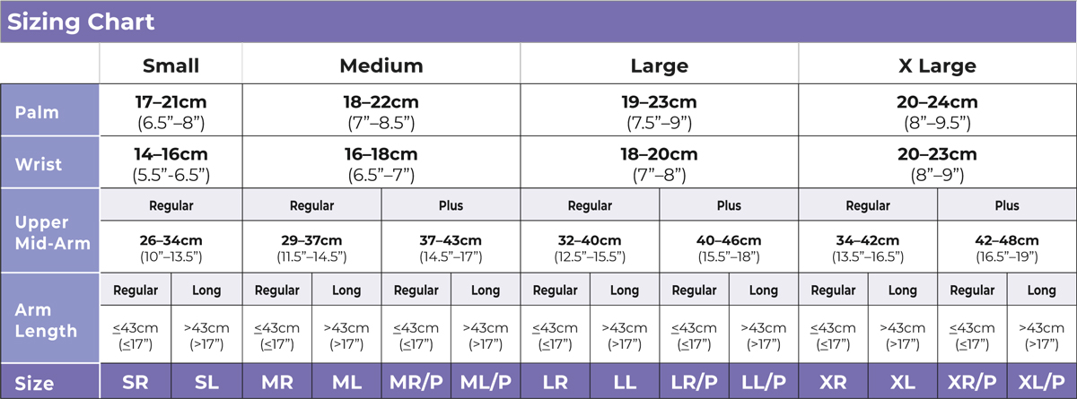 Armsleeve Sizing Chart